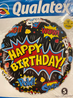 "18"" Happy birthday pow super wow balloon"