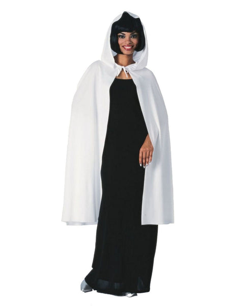 Rubies 45 inch white hooded cape standard adult Halloween costume