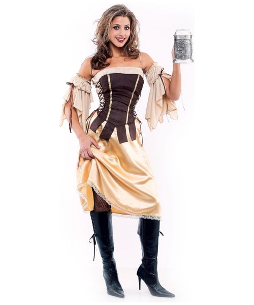 Paper magic women's tavern wench costume gold medium
