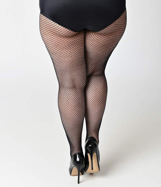 Queen Size Fish Net Tights - Black