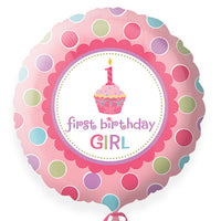 First birthday girl foil Balloon round