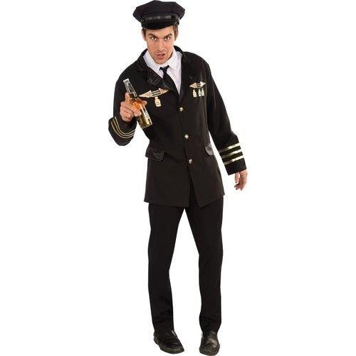 Rubies Costume heroes and hombres pilot jacket with shirt front tie and hat adult Halloween costume standard size