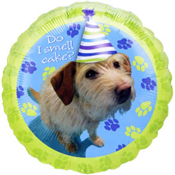 "18"" Happy Birthday do I smell cake dog balloon"