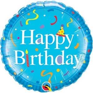 "Happy Birthday Blue 18"" Foil Balloon"