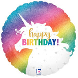 "18"" Happy Birthday glitter Rainbow Unicorn Balloon"