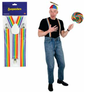 Rainbow Striped Suspenders Halloween Costume Accessory