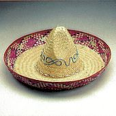 Embroidered Mexican Straw Sombrero Hat