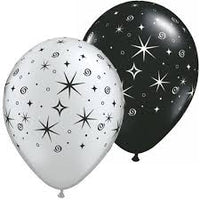 "Black / Silver Swirls 11"" Latex Balloon"