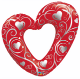 "42"" Heart Outline -  Hearts & Filigree Red Foil Balloon"