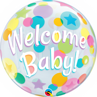 "WELCOME BABY DOTS 22"" BUBBLE"