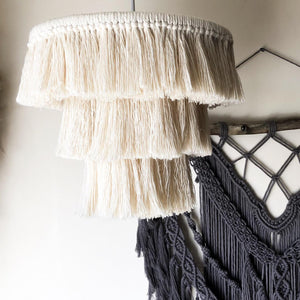 "Macrame Chandelier Pendant Lightshade ""The Fringe"""