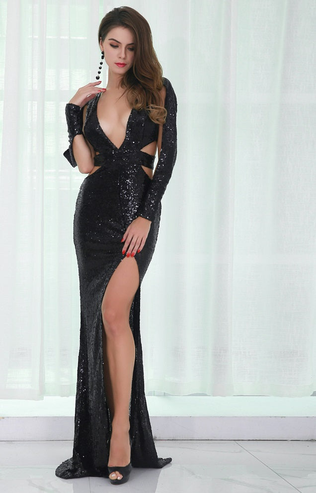 Black Sequin High Split Gown