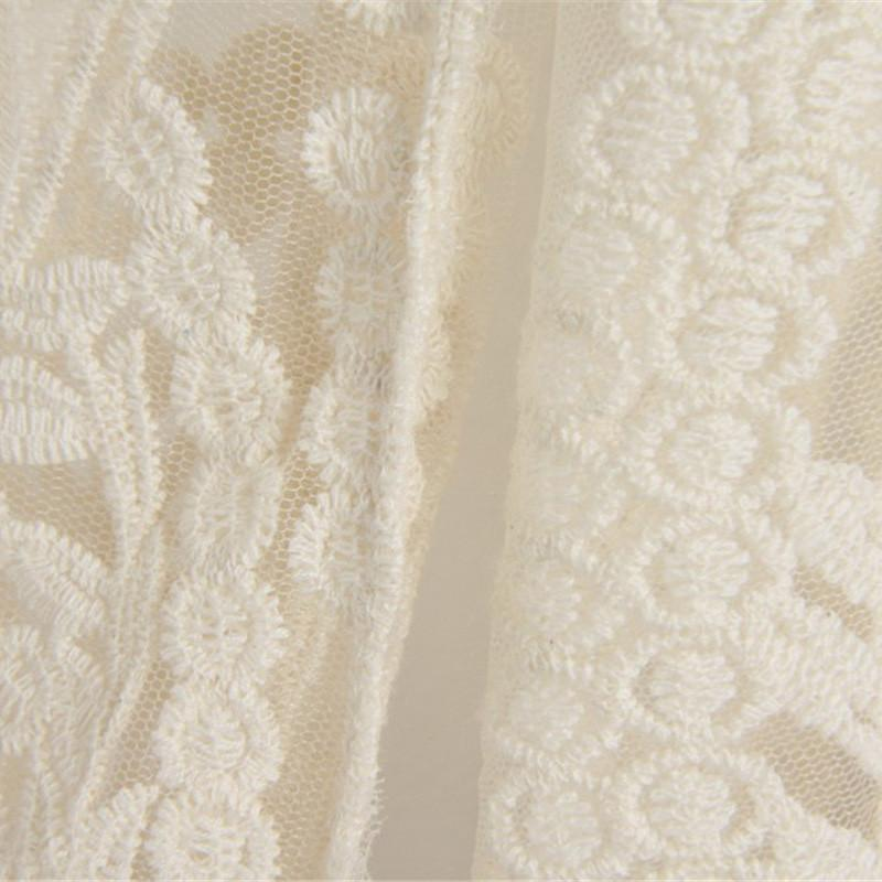 Beige Long Sleeve Hollow Out Crochet Lace Blouse