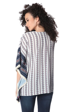 Navy oversized poncho top in tribe print