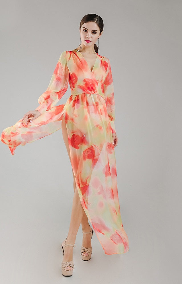 Orange Chiffon Floral Maxi Dress