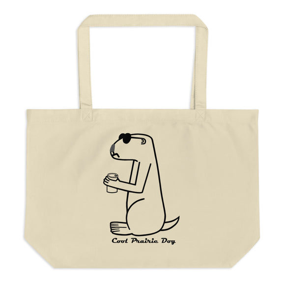 Cool Prairie Dog In Black | Large organic tote bag