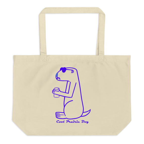 Cool Prairie Dog In Blue | Large organic tote bag