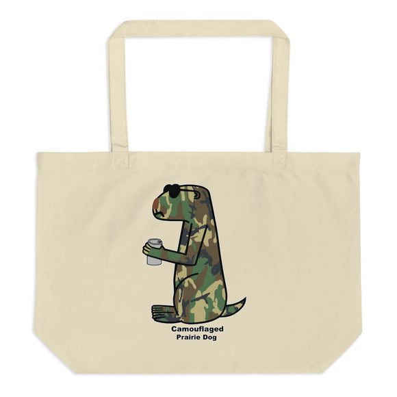 Camouflaged Prairie Dog | Large organic tote bag