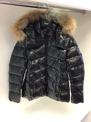 Girls Treapi Black Patent Coat with Fur Hood