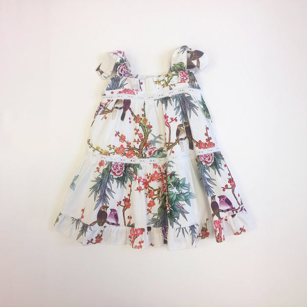 Girls Pan Con Chocolate White Floral Debora Dress