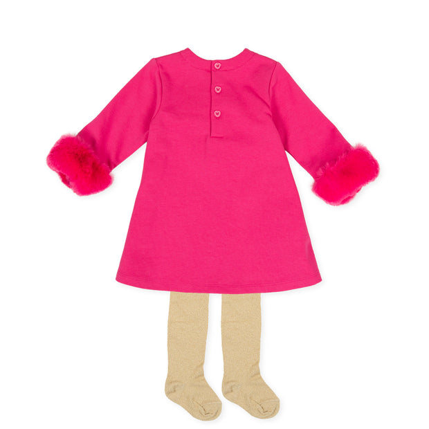 Agatha Ruiz De La Prada Nieve Pink Furry Heart Dress & Tights Set