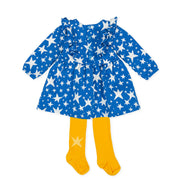 Pre-order Agatha Ruiz De La Prada Estrella Blue Stars Dress & Tights Set
