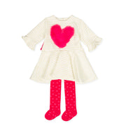 Pre-order Agatha Ruiz De La Prada Nieve Heart Dress & Tights Set