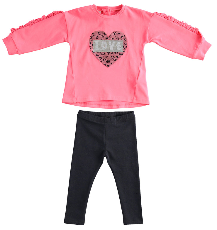 iDo Sequin Heart Legging Set