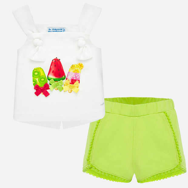 Girls Mayoral Fruity Shorts Set
