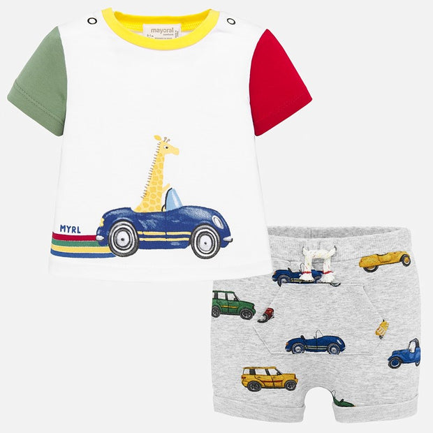 Baby Boys Giraffe Car Shorts Set
