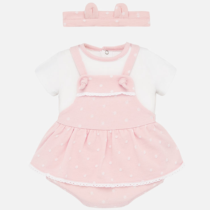 Baby Girls Mayoral Pink Dungaree Set
