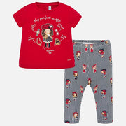 Girls Mayoral Red & Black Perfect Outfit Legging Set