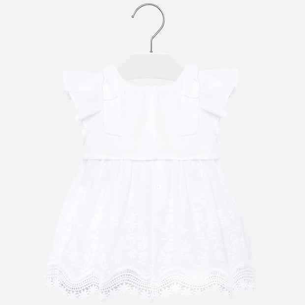 Girls Mayoral White Embroidered Dress