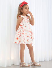 Girls Abel & Lula Pink & Cream Floral Print Dress
