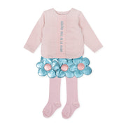 Girls Agatha Ruiz De La Prada Pink & Blue Flower Skirt Set & Tights
