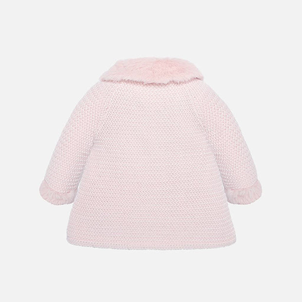 Girls Mayoral Pink Knitted Coat with Bonnet