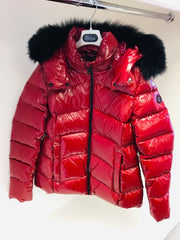 Girls Treapi Red Patent Coat with Fur Hood