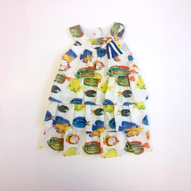Girls Pan Con Chocolate Tiered Fish Print Ambar Dress