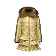 Girls Le Chic Gold Ruffle Coat