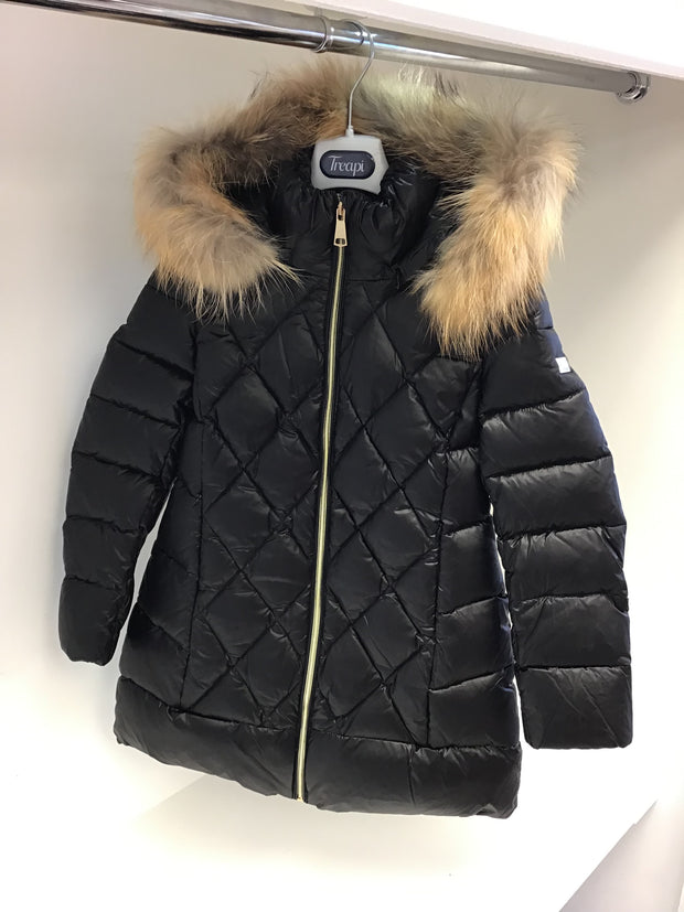 Girls Treapi Black Coat with Fur Hood
