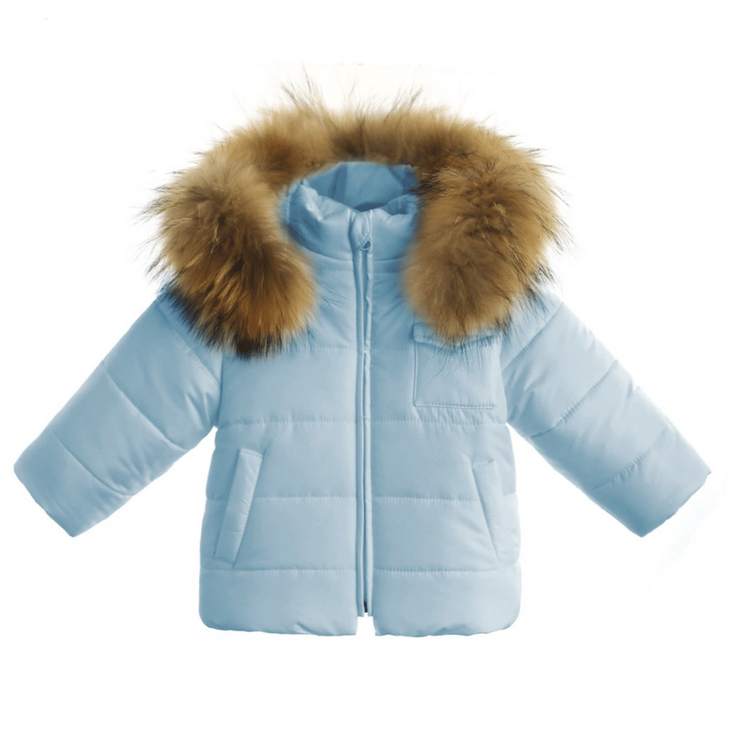Gastone Blue Fur Hooded Coat