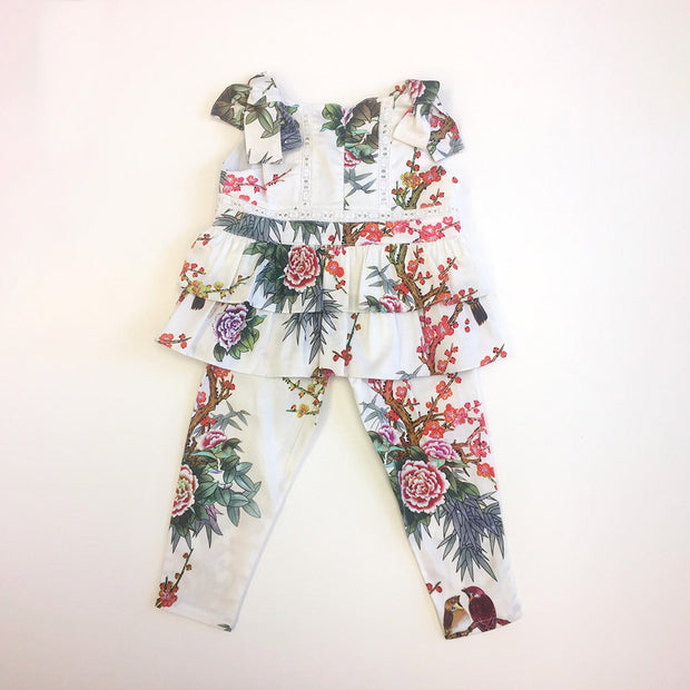 Girls Pan Con Chocolate Delia White Floral Trousers Set