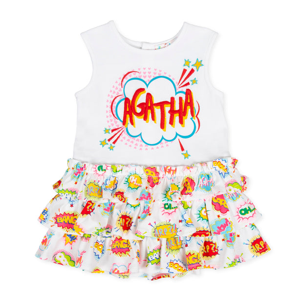 Girls Agatha Ruiz De La Prada Tebeo White Print Dress