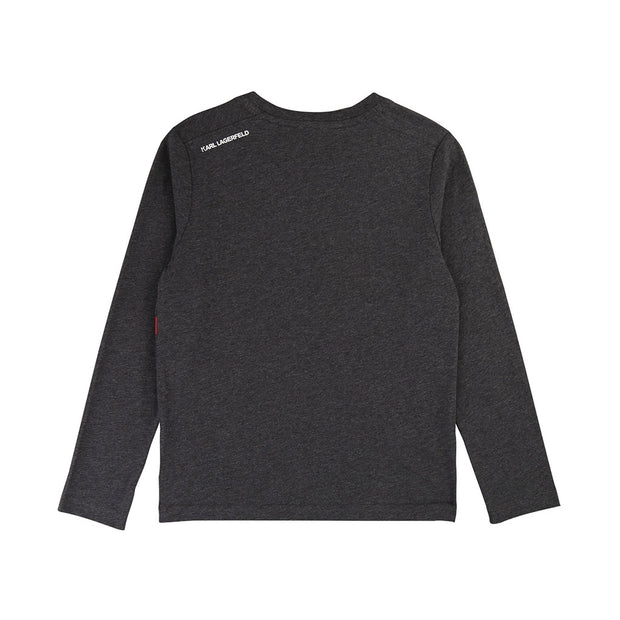 Boys Karl Lagerfeld Kids Grey Long Sleeved T-Shirt
