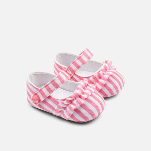 Girls Mayoral Pink & White Striped Maryjane Shoes