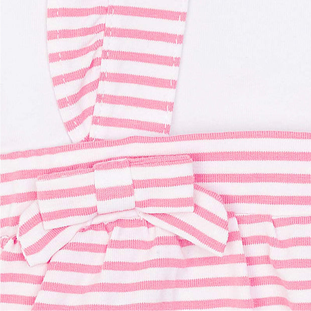 Girls Mayoral Pink Striped Dungaree Skirt & Top