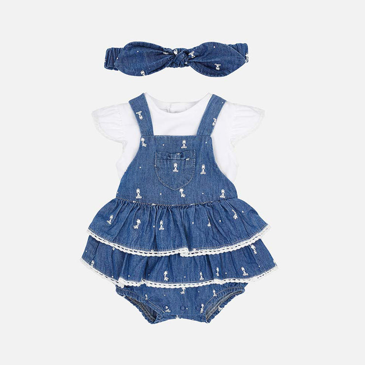 Girls Mayoral Denim Giraffe Frill Dungarees & Headband
