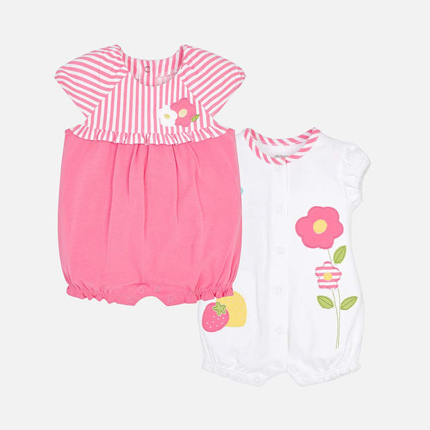 Girls Mayoral 2 Piece Pink Striped Short Romper Set