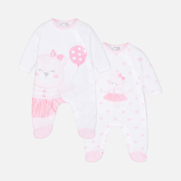 Girls Mayoral 2 Piece Teddy Rompers Box Set