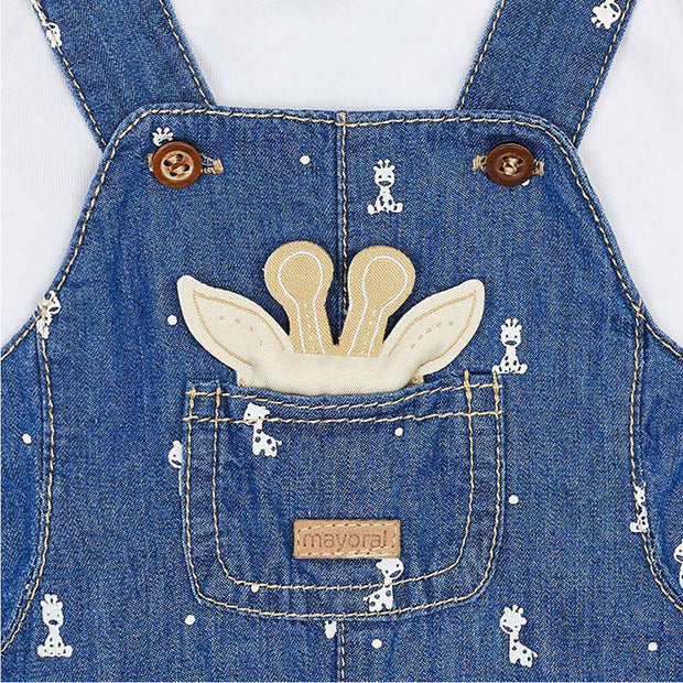 Boys Mayoral Denim Look Giraffe Dungarees